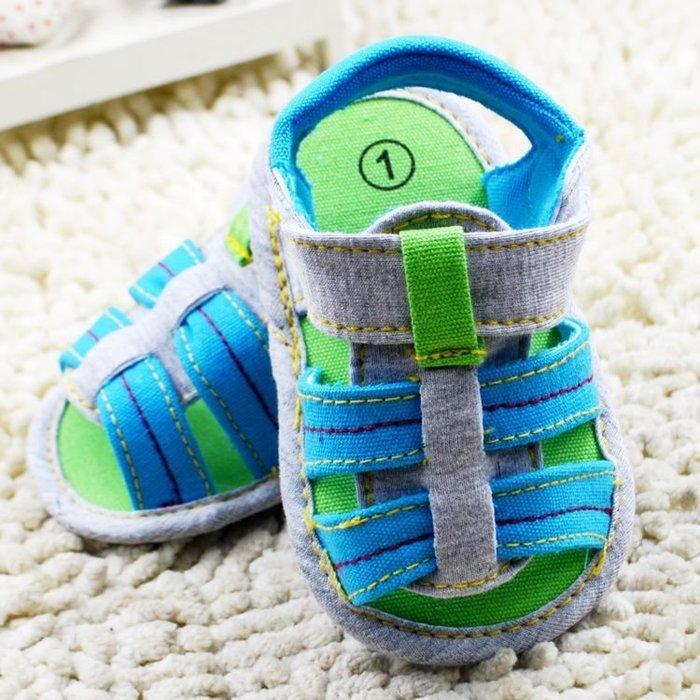 寶貝倉庫~時尚休閒露趾涼鞋~學步鞋~布底鞋~寶寶鞋~嬰兒鞋~防滑鞋~幼兒鞋~學走鞋~粘扣設計~穿脫方便~彌月送禮