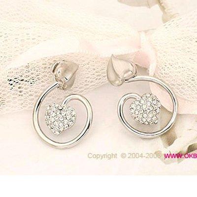 甜美雙心鑲鑽耳針耳環