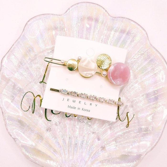 正韓國閃耀鑽飾氣質時尚美人 幾何珍圓珍珠扣夾 + 梯鑽線夾 (組) 韓國製