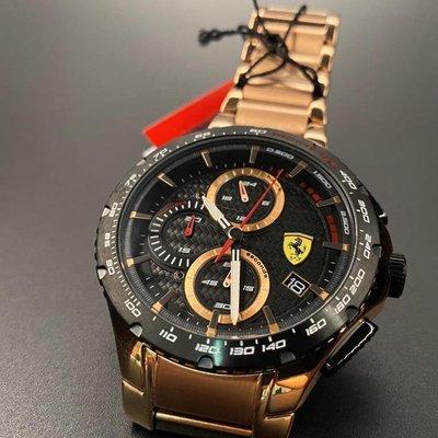 FERRARI法拉利男錶,46mm玫瑰金圓形精鋼錶殼,黑色三眼, 運動錶面,玫瑰金色精鋼錶帶款,本季新款!