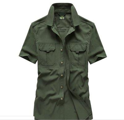 時尚服飾 夏季大碼戶外男短袖襯衫寬松純色速幹襯衣102D-1