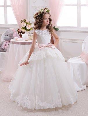 【衣Qbaby】兒童禮服女童音樂會鋼琴演奏花童畢業典禮蕾絲白色蓬蓬裙