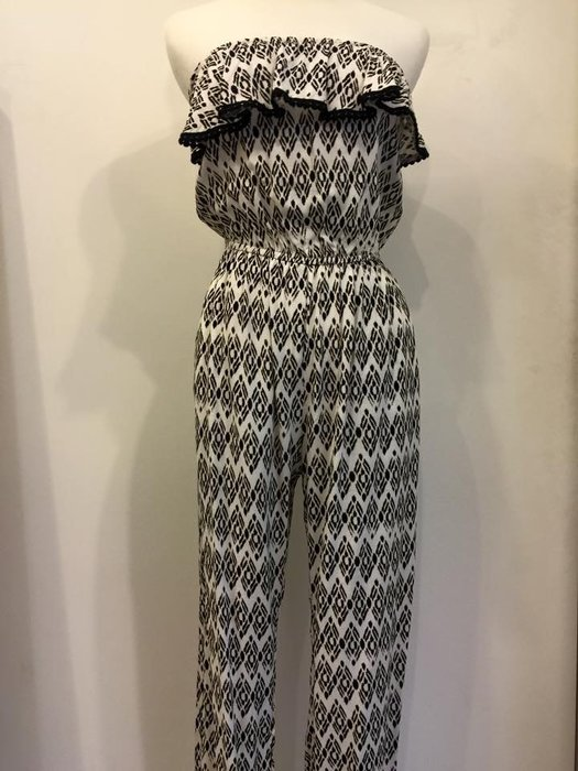 abercrombie kids女生 beautiful printed jumpsuit 平口連身褲 黑白 XL 現貨
