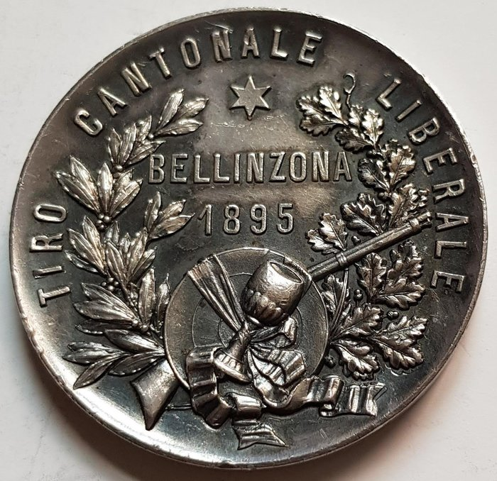 瑞士銀章1895 Bellinzona Tiro Cantonale Liberale Silver Medal.