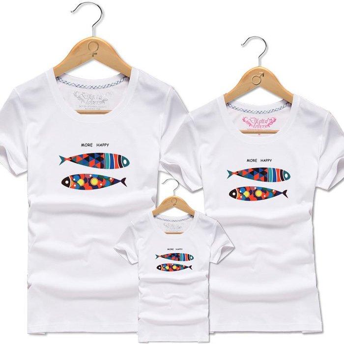 親子裝 母女裝 三口純棉短袖T恤  家庭裝 全家股 小魚裝—莎芭