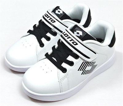 LOTTO 樂得 1973經典室內網球鞋 滑板鞋 輕量童段黏帶 白黑LT8AKR6988