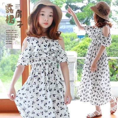 【AR0040】✿寶貝花園✿ 夏季新品 渡假 沙灘 棉質 波希米亞風 露肩洋裝