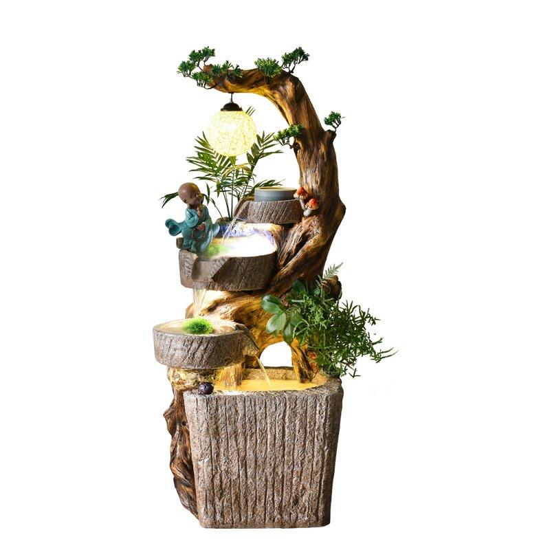 創意石磨根雕流水噴泉擺件客廳魚池落地景觀家居招財禪意庭院裝飾小豬佩奇