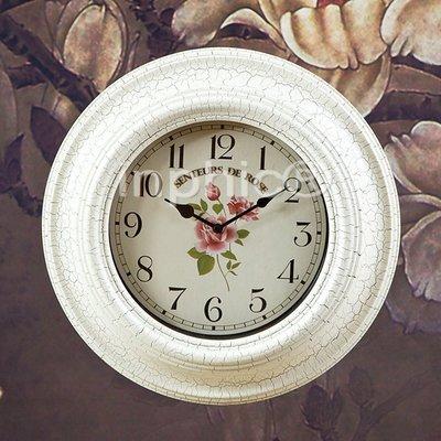 INPHIC-歐式田園 鐵藝掛鐘裝飾掛鐘時尚掛鐘 乳白色
