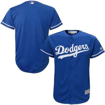 MLB 美國大聯盟 正品 Majestic MLB 美國大聯盟 洛杉磯道奇隊 客埸藍色 棒球衣 無背號 兒童L  生日禮