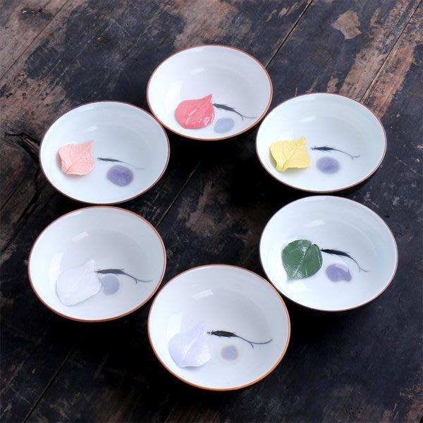 5Cgo【茗道】含稅會員有優惠 521774324280 手繪魚杯手捏立體樹葉子窯變結晶釉個性品茗杯茶杯碗杯主人 6杯
