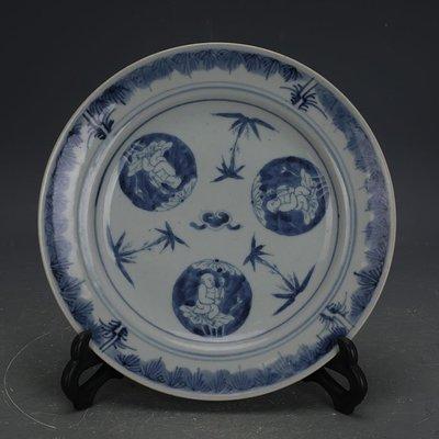 ㊣姥姥的寶藏㊣ 大清光緒手工瓷青花娃娃紋瓷盤  民窯古瓷器古玩古董收藏擺件