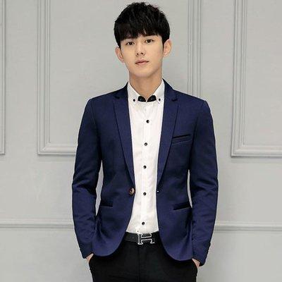 男士西服青年韓版修身西裝職業裝單小西裝休閒格子外套 露露日記