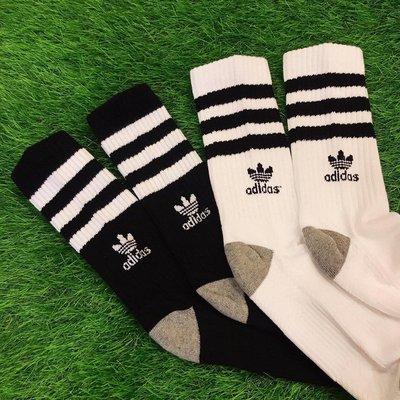 ☆AirRoom☆【現貨】ADIDAS ORIGINALS ROLLER SOCKS 3雙 黑色 白色 長襪 LOGO