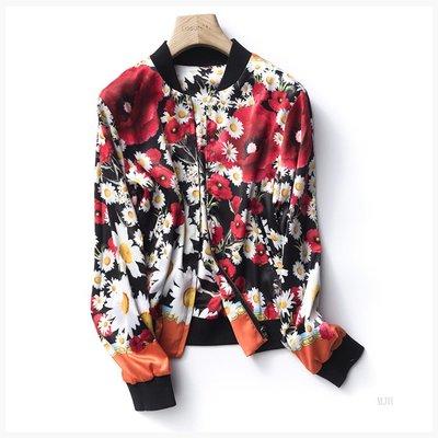 グ 雙面花朵印花 寬松緞面棒球服外套 夾克 女 F805X001