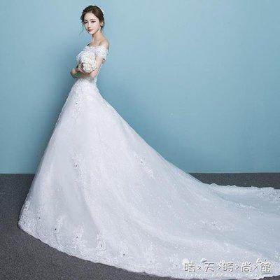綠光街鋪 一字肩長拖尾主婚紗禮服新娘公主齊地顯瘦簡約輕出門紗女 訂製商品不可退換貨S258