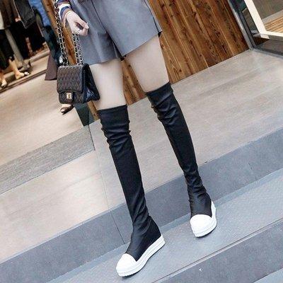 ZIHOPE 2019明星同款長靴高筒靴平底平跟彈力靴學生靴女鞋過膝靴長筒女靴ZI812