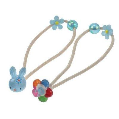 *Miki日本小舖*日本兔兔&花朵造型 髮束/髮飾/髮圈 日本製 藍色