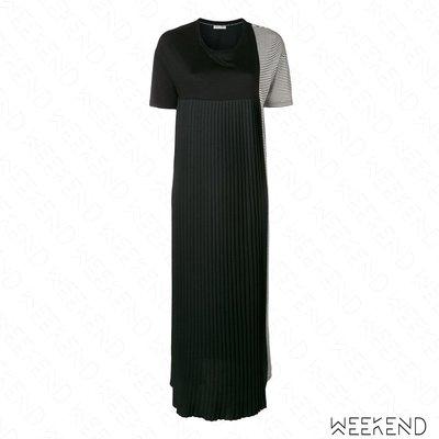 【WEEKEND】 EACH X OTHER 異材質 拼接 部份百褶 條紋 長版 連身裙 長洋 黑+灰 18秋冬