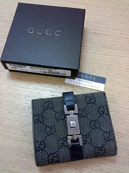 二手名牌出清 Gucci 黑色中短皮夾 金屬扣 經典緹花