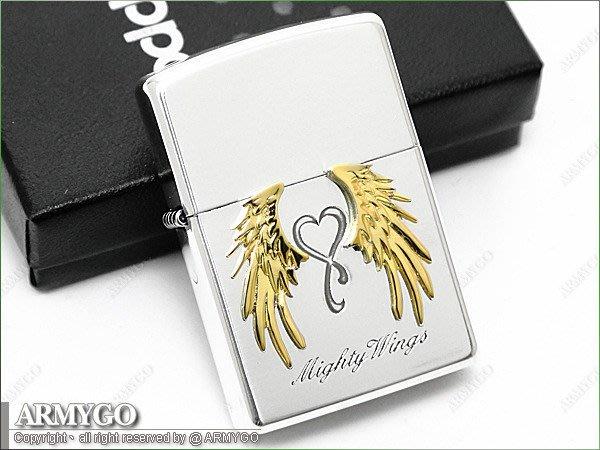 【ARMYGO】ZIPPO原廠打火機-日系-Mighty Wings系列- 金色款