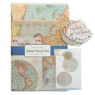 《散步生活雜貨-文具散步》日本進口 Cavallini -Petite Parcel Set  復古風 世界地圖 包裝組