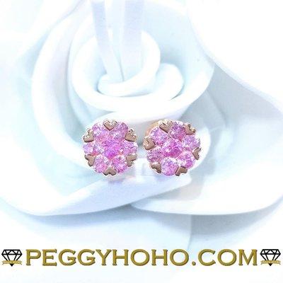 【Peggyhoho】全新18K玫瑰金73份粉紅藍寶石耳環| pink sapphire 系列 | 錫蘭粉紅藍寶石