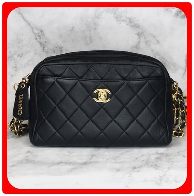 【 RECOVER 名品二手 sold out】CHANEL VINTAGE 黑色菱格紋拉鍊包 可肩背/斜背