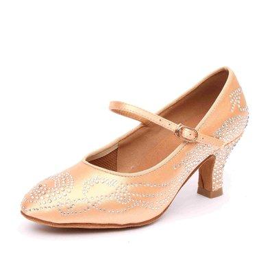 """Afa安法國標舞鞋/拉丁舞鞋 原價$2,800~~女摩登圓頭 淺膚緞 滿鑽款 CT30604 鞋跟2.3"""""""