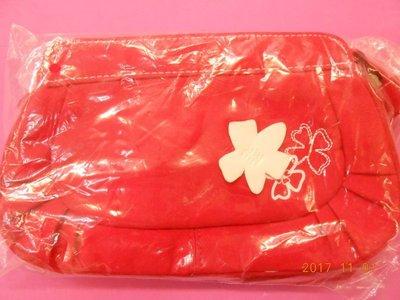 《立體小花紅色小化妝包 》百貨公司化妝品專櫃贈品    全新品 【CS超聖文化2讚】