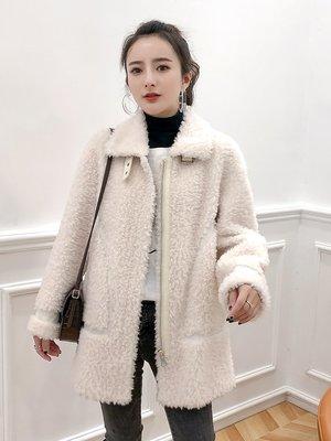 'OVERCOAT'2019新款冬季羊剪絨皮草大衣中長款修身皮毛一體羊羔毛外套女裝