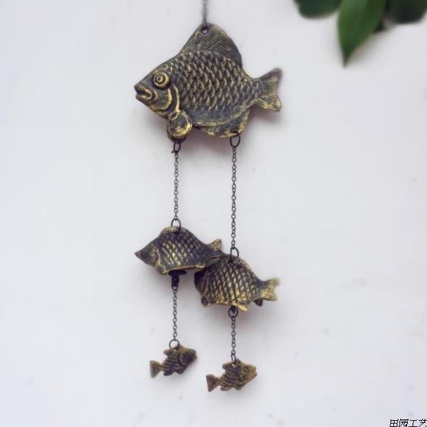 飄魚。金屬仿古南部鑄鐵掛飾擺設擺件 門鈴搖鈴風鈴裝飾品鐵藝