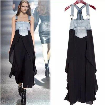 《大碼特惠XL-3XL》中長款牛仔吊帶雪紡連身裙