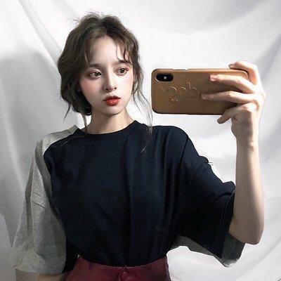 2018夏季韓國原宿百搭拼色休閑寬松中長款 短袖T恤女學生