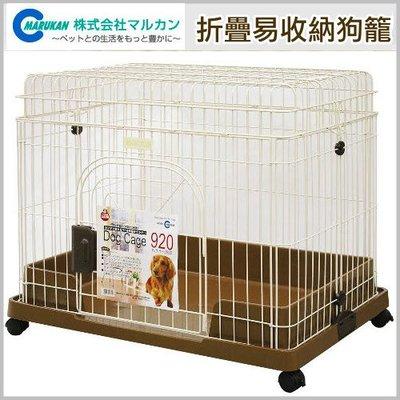 汪旺來【歡迎自取】Marukan摺疊兩用精緻寵物籠兼圍欄DC-89(附輪子)三尺狗籠/折疊易收納/上蓋可拆卸當圍片使用