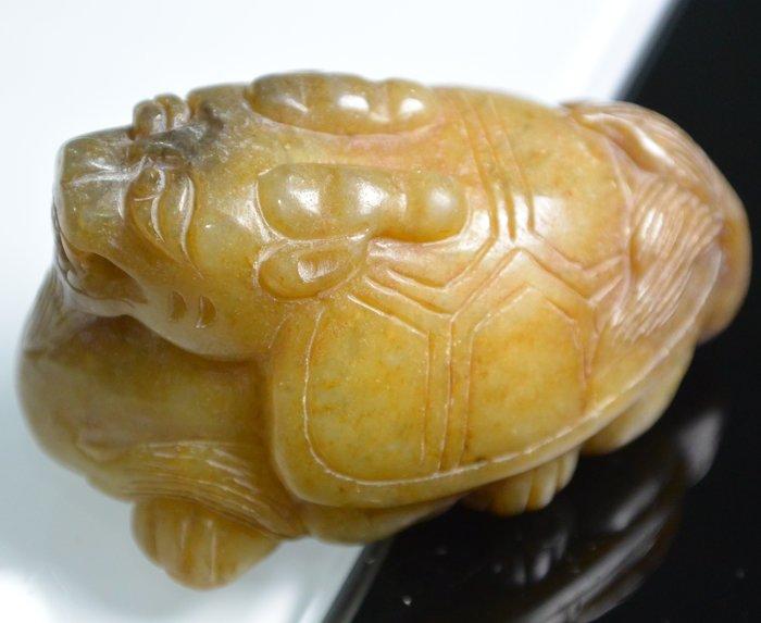 [天地居] 漢 帶沁和闐白玉龍龜