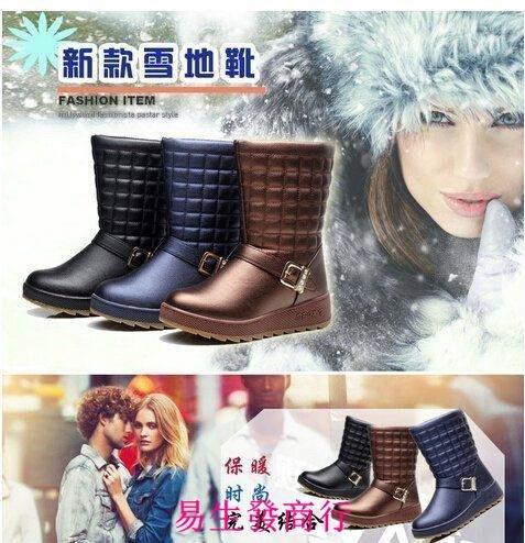 【易生發商行】雅森中筒雪地靴棉靴女靴子歐美防水靴加厚保暖短靴坡跟棉鞋女鞋F5886