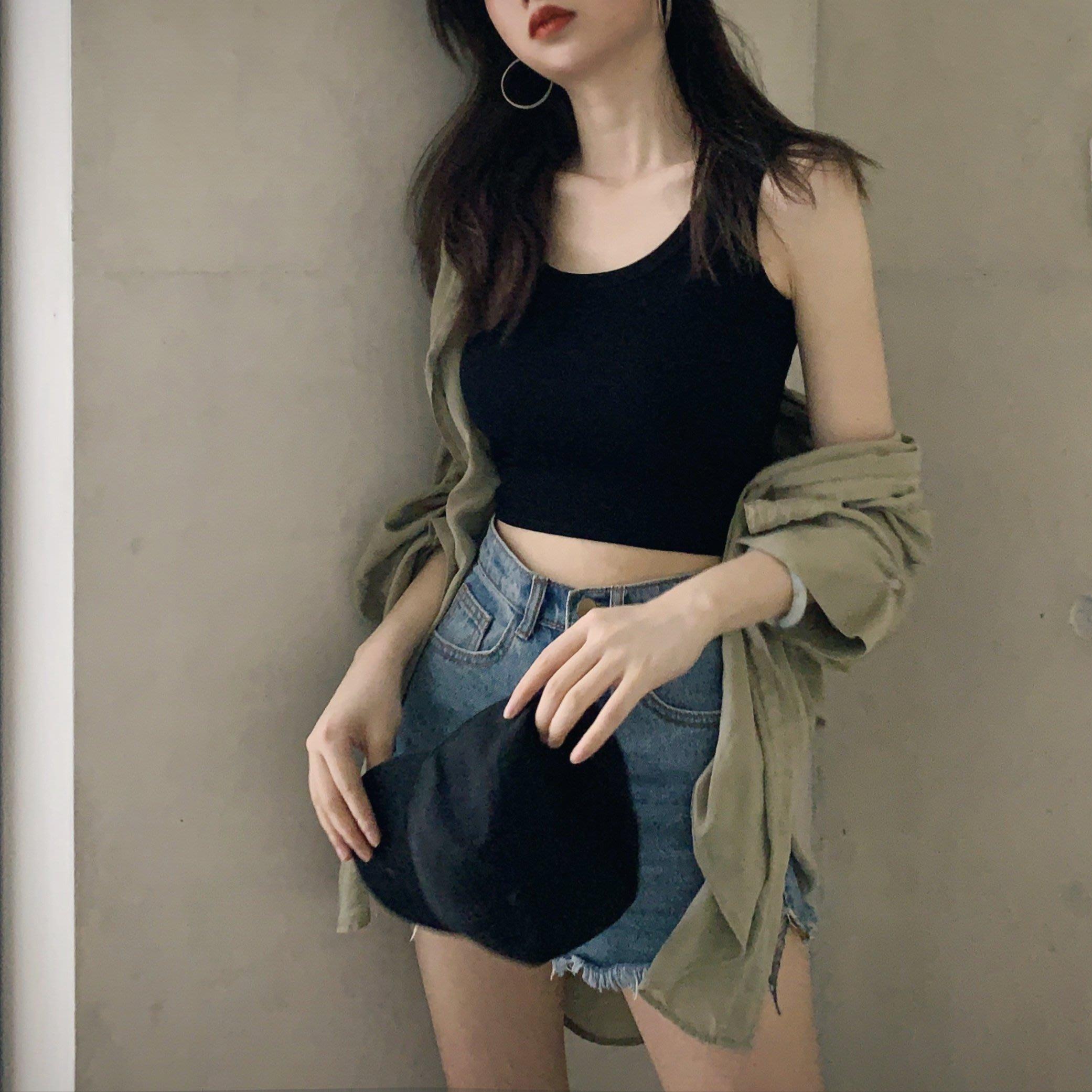 韓版 平口T恤 一字肩 修身顯瘦外穿露臍短款內搭打底小吊帶背心女學生