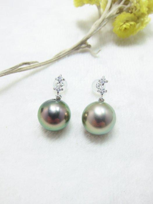 日本設計11mm 南洋黑珍珠14K金耳環【元圓珠寶】