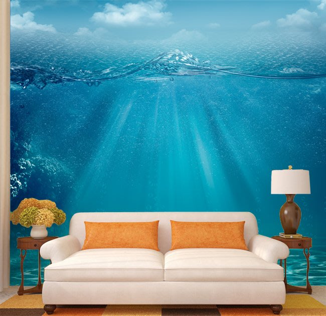 客製化壁貼 店面保障 編號F-717 海底空間 壁紙 牆貼 牆紙 壁畫 背景牆 星瑞 shing ruei