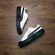 "Puma Basket Platform Scallop""白黑""經典 厚底 休閒滑板鞋 366723-04 女鞋"