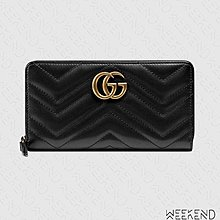 【WEEKEND】 GUCCI GG Marmont 皮革 拉鍊 皮夾 長夾 卡夾 黑色 443123
