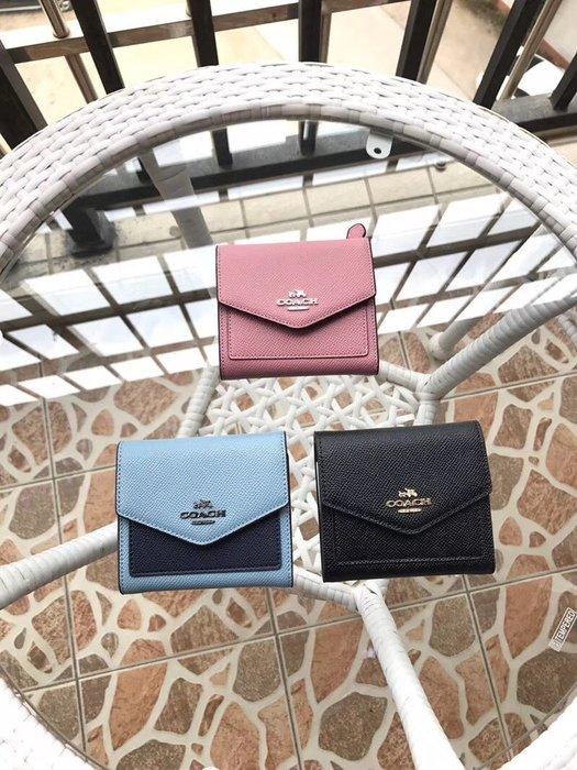 空姐精品代購 COACH 59972 美國正品 新款女士牛皮三折錢包 零錢包短夾 可放大鈔 附代購憑證