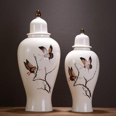 〖洋碼頭〗中式古典龜裂手繪花鳥圖案陶瓷罐工藝品家裝飾儲物罐擺件 ysh194