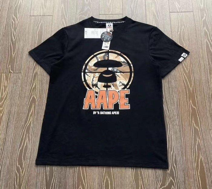 正品日本bape aape香港潮牌猿人頭射槍圓形logo黑白米色短袖T恤tee