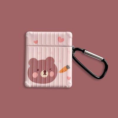 可愛卡通小熊airpods保護套蘋果1/2代無線耳機套硅膠軟殼女款防摔