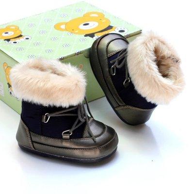 森林寶貝屋~深藍保暖高筒膠底鞋~學步鞋...