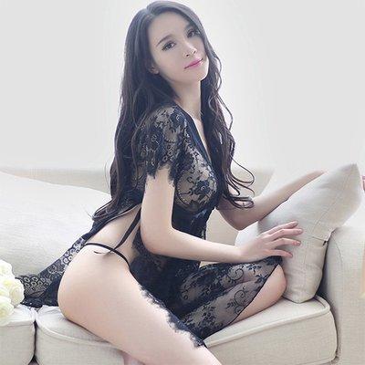 性感 露乳 丁字褲 性感睡衣 爆乳 透明內衣開叉蕾絲睡裙性感情趣睡衣系帶露背裙火辣誘惑騷