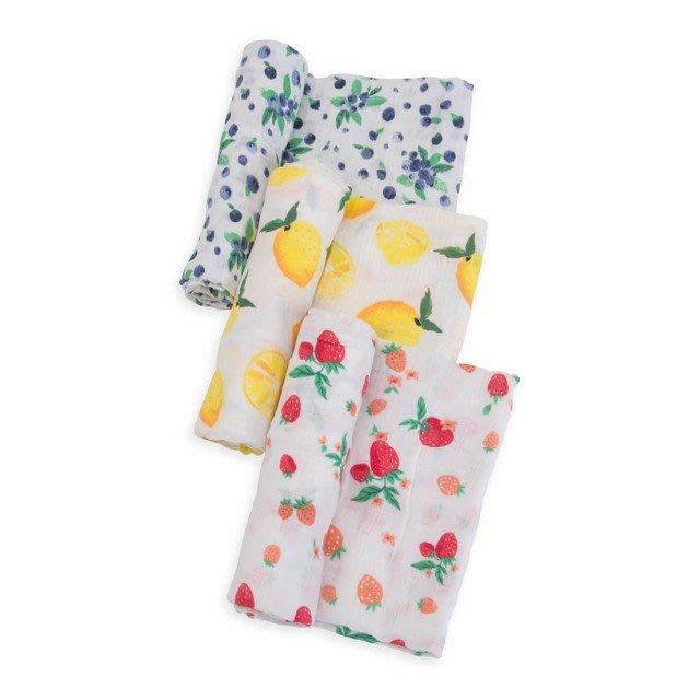 美國 Little Unicorn 純棉紗布巾三入組 - 水果盤
