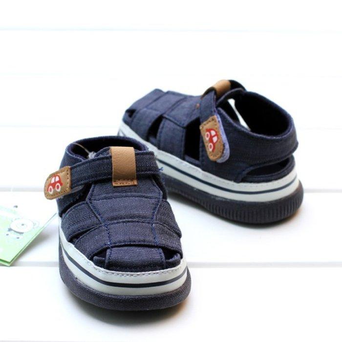 寶貝倉庫~藍色休閒包頭軟膠涼鞋~學步鞋~寶寶鞋~學走鞋~娃娃鞋~幼兒鞋~童鞋~粘扣設計~穿脫方便~彌月贈禮